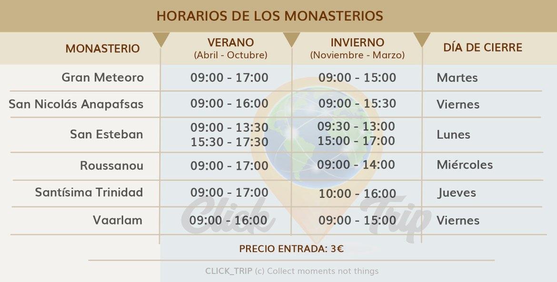 · Horarios de los monasterios · Meteora ·