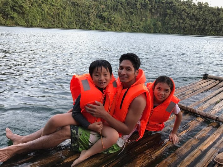 swimming in Pandin Lake, San Pablo City, Laguna