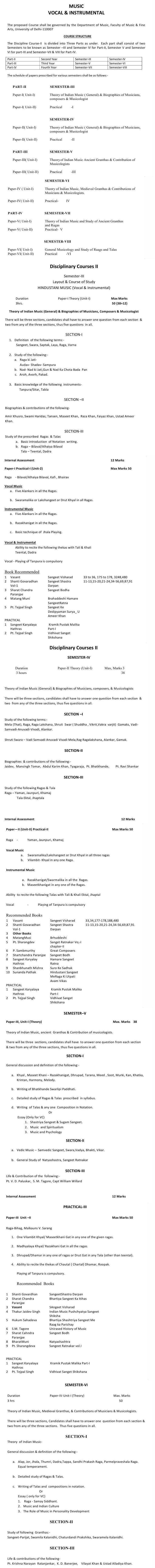 DU DC I, DC II and Applied Course Syllabus - Hindustani Music