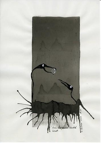 Time a Double Headed Beast ... Penny Drawings Sale by Birgit Deubner