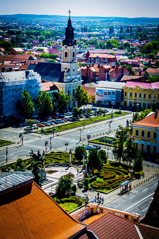 View of Piazza Unirii, Oradea, Romania