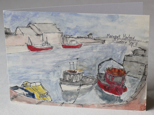 Maryport Harbour, Cumbria Litho Print Greeting Card