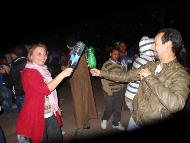 Drunken bottle fight