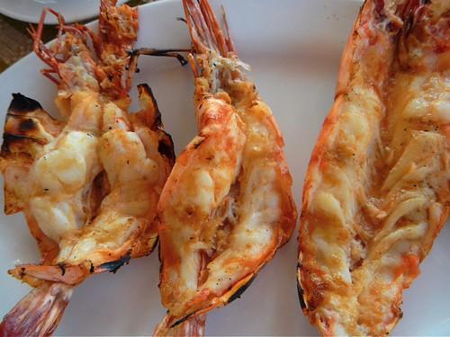 fresh grilled prawns at Green Umbrella on Ngapali Beach in Myanmar