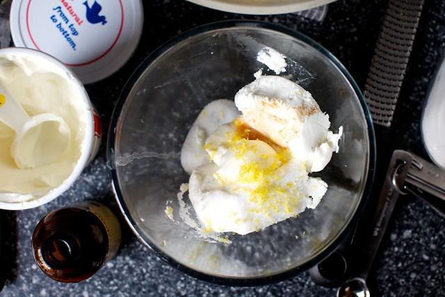 farmers cheese, sour cream, zest, vanilla, sugar