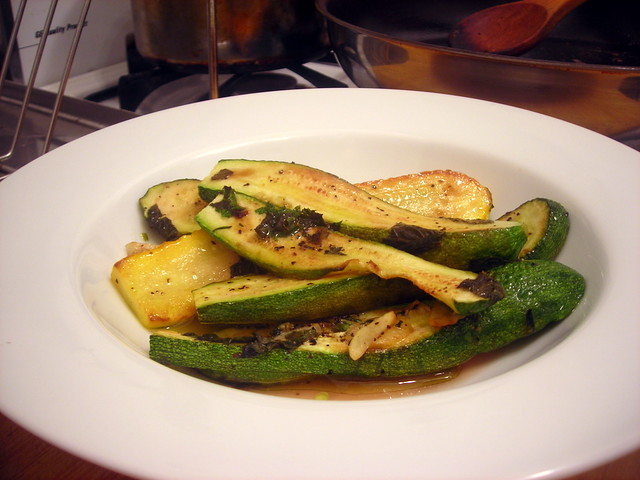 "Zucchine alla scapece (""zucchini fried in olive oil, and marinated with garlic, mint and vinegar"")"