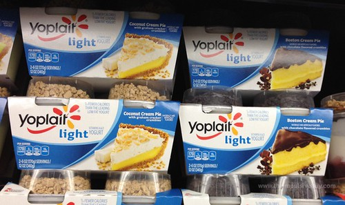 Yoplait Light Coconut Cream Pie with Chocolate Flavored Crumbles and Boston Cream Pie with Chocolate Flavored Crumbles