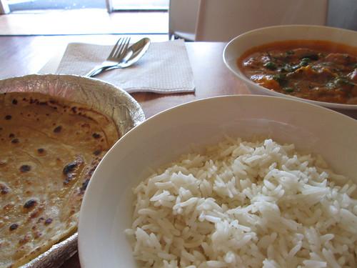 mushroom pea masala & lachha parantha