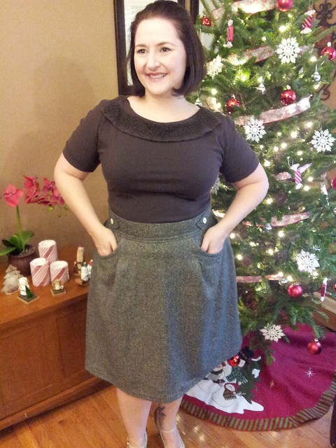 Peggy Skirt in Wool Blend - Green December!!