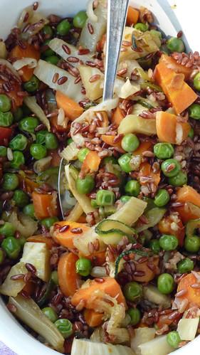 riso selvatico con verdure al vapore