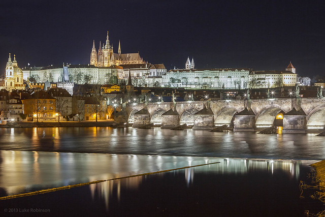 View of the Charles Bridge and Prague Castle by Night