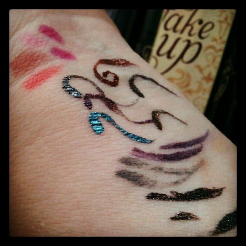 A little makeup shopping and my arm looks like impressionist art. hey, I didn't say good impressionist art. #eyeMakeupOfTheBeholder