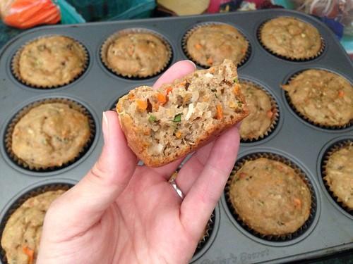 Zucchini Carrot Coconut Raisin Muffins