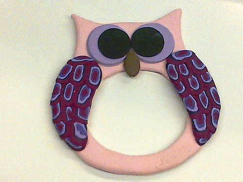 Party Favor: Polymer Clay Owl Picture Frame (First Attempt)