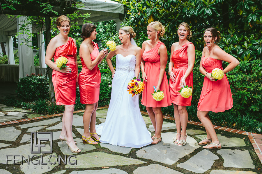 Bride and her bridesmaids share a laugh