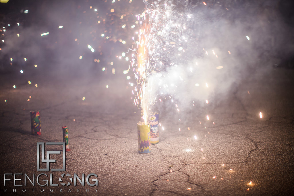 Fireworks in the parking lot to welcome groom on Mehndi night at Seasons Event Center