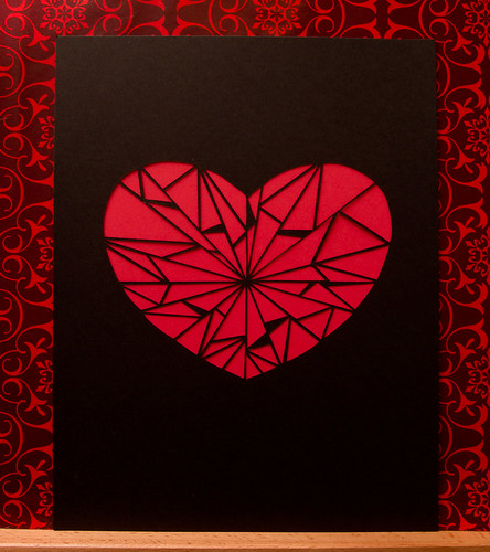 Abstract paper cut heart