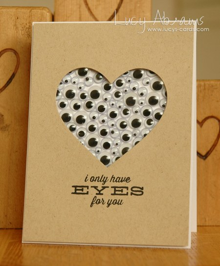 Valentine's Day Cards I Only Have Eyes For You DIY Do It Yourself Brown Paper Cool Funny Clever Present Boyfriend Girlfriend