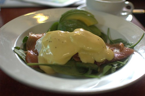 Eggs Benedict with smoked salmon and avocado