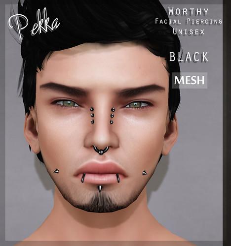 pekka worthy facial piercing black mesh