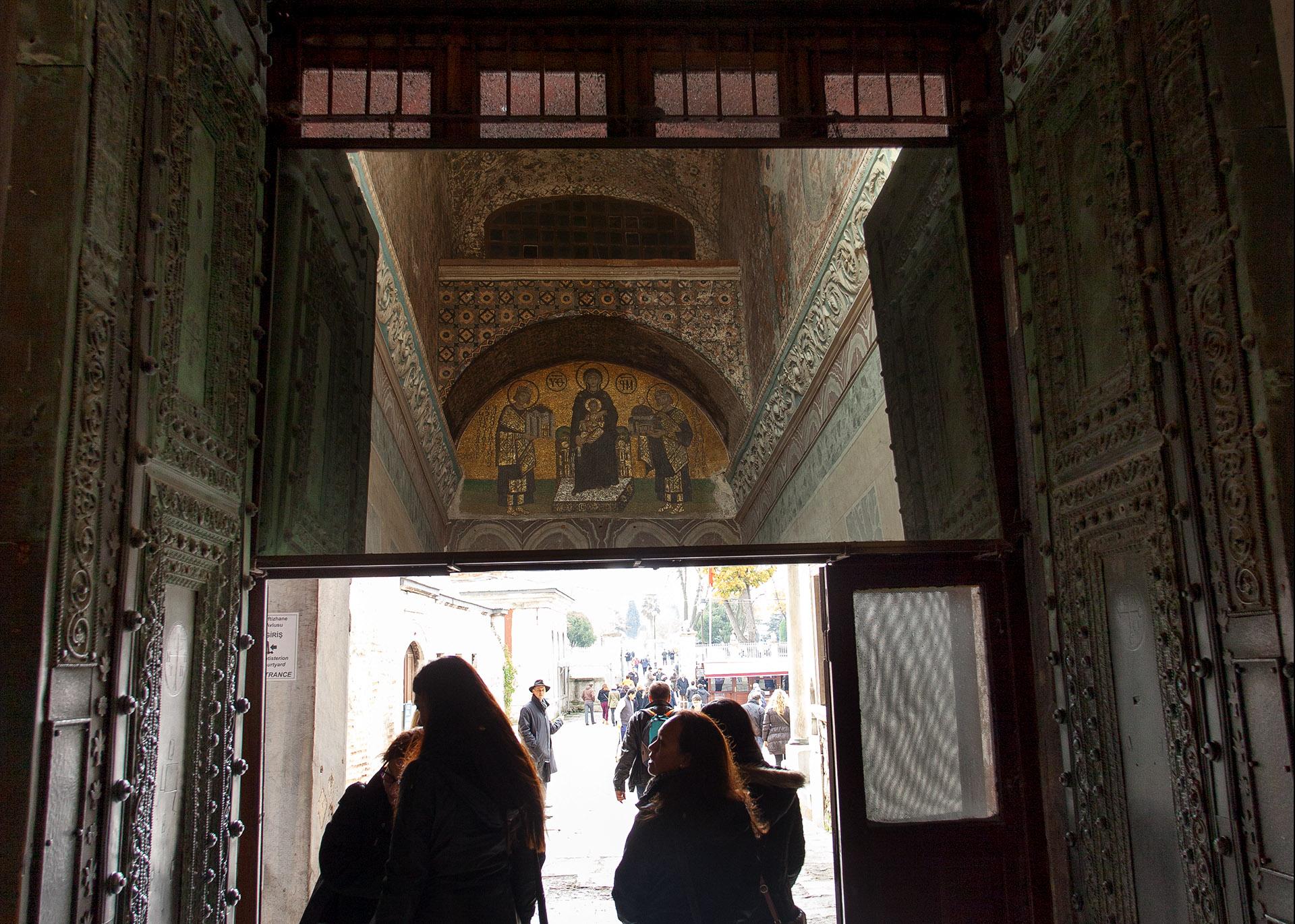 Mirror on exit of Hagia Sophia.