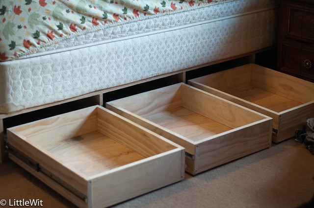 Drawers extended