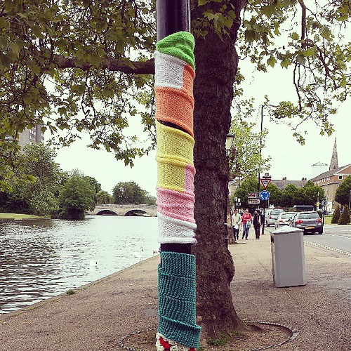 Might have epically just embarrassed my family by squealing, running and skipping up and down the embankment looking at all the #yarnbombing. #yarn #knitting #crocheting #crochet
