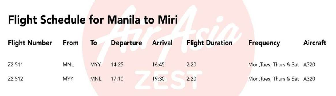 Flight Schedule (Manila to Miri)