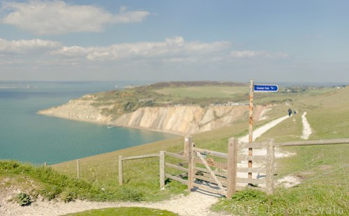 The Coastal Path at Alum Bay on the Isle of Wight.