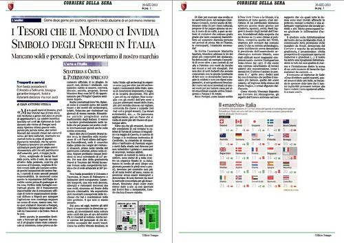 ITALIA BENI CULTURALI: I tesori che il Mondo ci Invidia Simbolo Degli Sprechi in Italia, Corriere Della Sera (30/06/2013), p. 1. by Martin G. Conde
