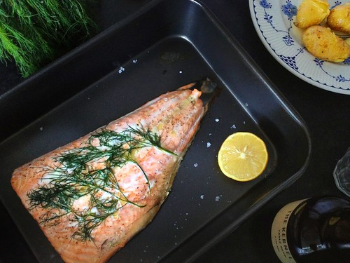 roast salmon with fresh dill, Kernel Brewery Table Beer