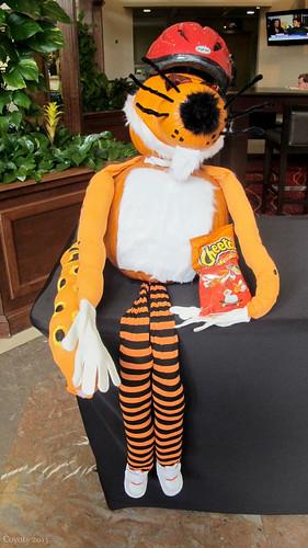 Cheetos Chester Cheetah pumpkin sculpture by Coyoty