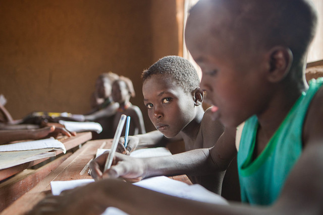 Students attend class at Alkatekach primary school