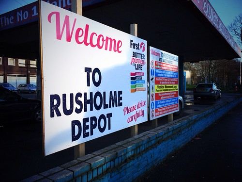 First Greater Manchester's Rusholme depot sign.