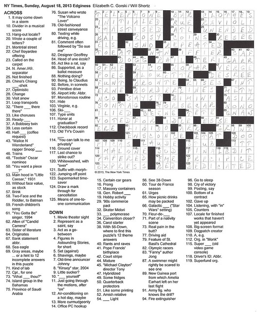 NYT Sunday Puzzle - August 18, 2013