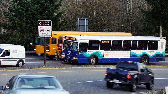 A ST 535 waits to re-enter I-405