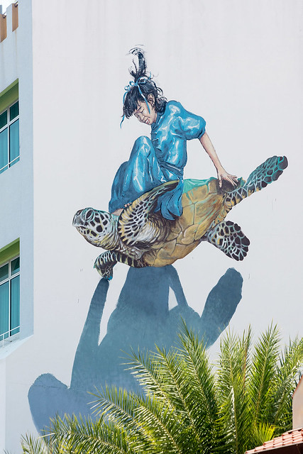 Girl on Turtle, Artist: Ernest Zacharevic and Martin Ron.