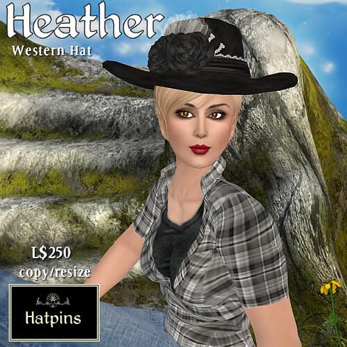 Hatpins - Heather Western Hat - Black