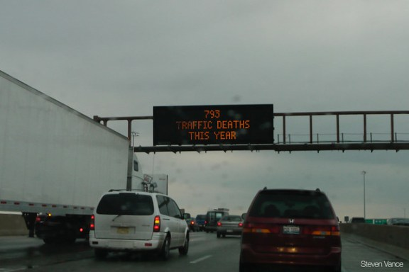Traffic deaths sign over the Dan Ryan Expressway