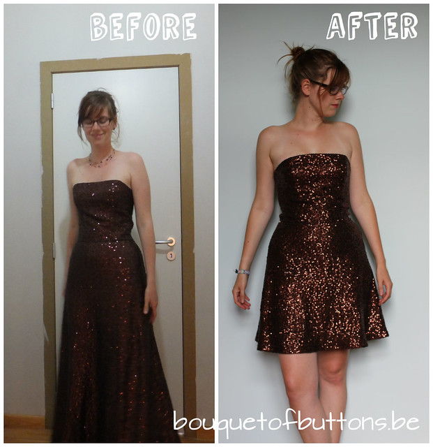 before and after sequin dress, voor en na glitterjurk