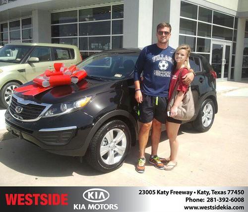Thank you to Nathan Thackeray on the 2013 Kia Sportage from Gil Guzman and everyone at Westside Kia! by Westside KIA