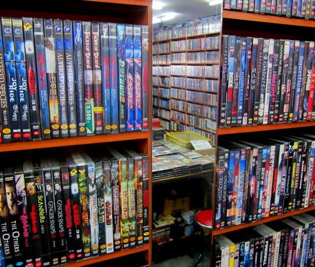 Seoul Korea Dongmyo Flea Market Huge Retro Dvd Store With Horror And Cult Selection