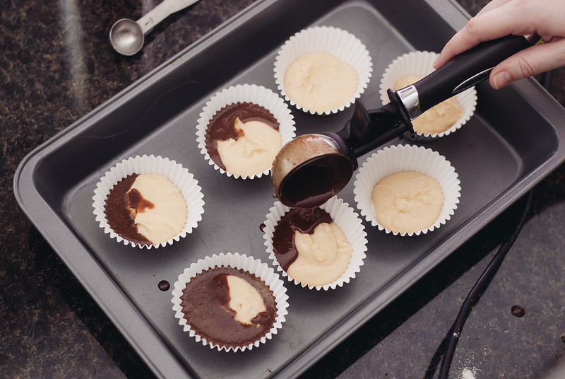 Combine vanilla and chocolate