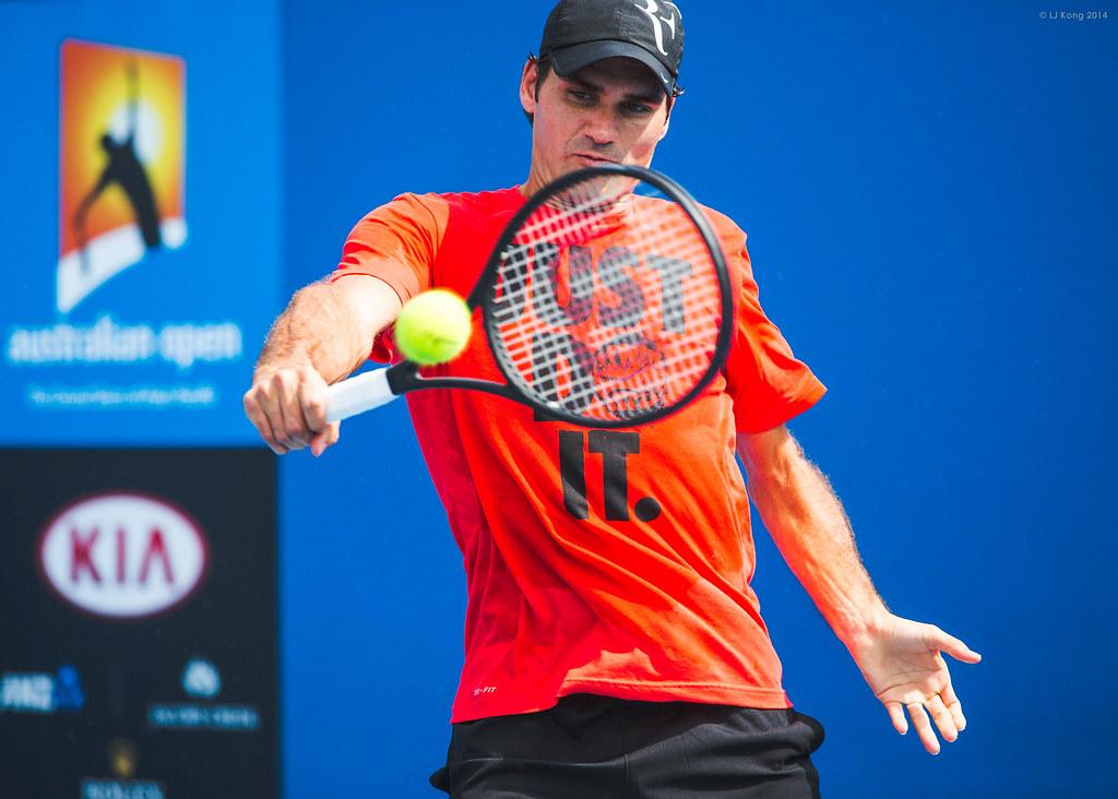 Roger Federer Day 3 Practice Australian Open 2014