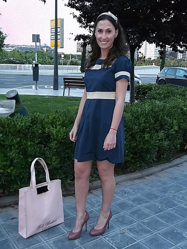 Preppy, baby doll, rosa palo, tote bag, diadema, lazo, headband, bow, blue navy, pastel pink