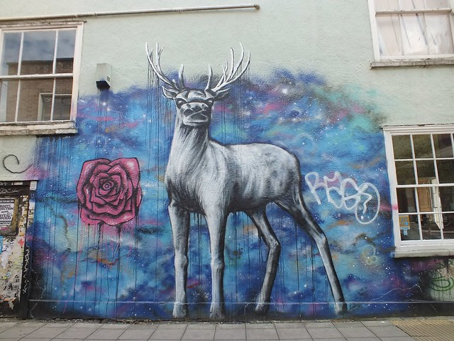 Stag by Rose, Street Art at Stokes Croft, Bristol