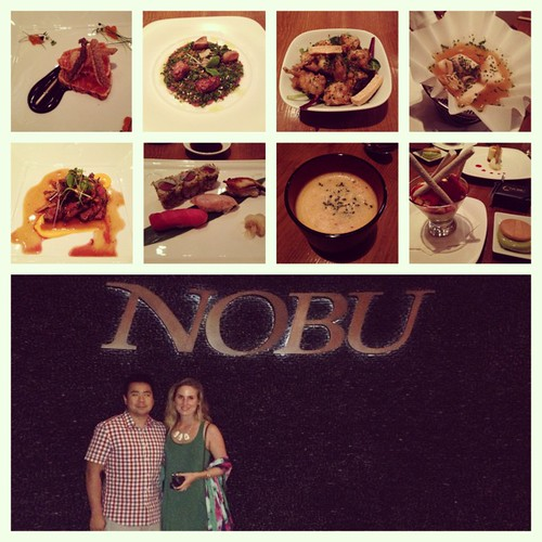 Nobu omakase dishes and photo with my husband.