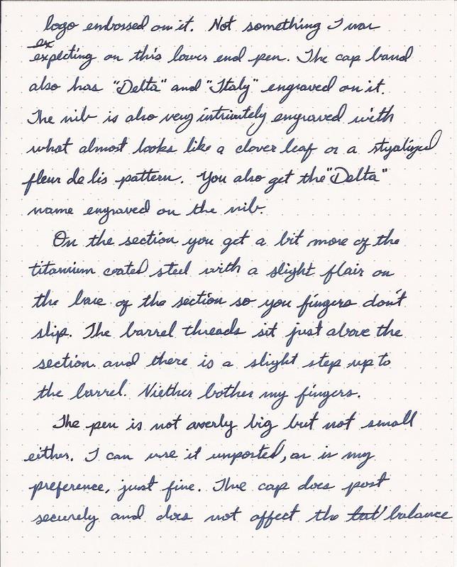 Delta Serena Fountain Pen Review Handwritten Portion