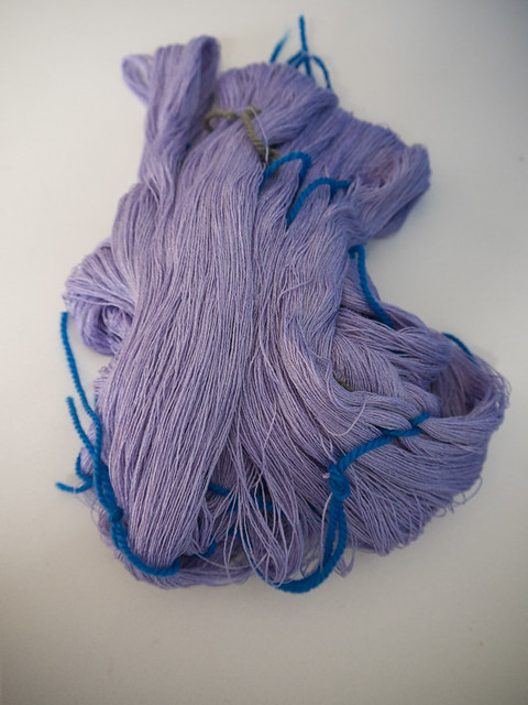 Lilac silk laceweight yarn before dyeing