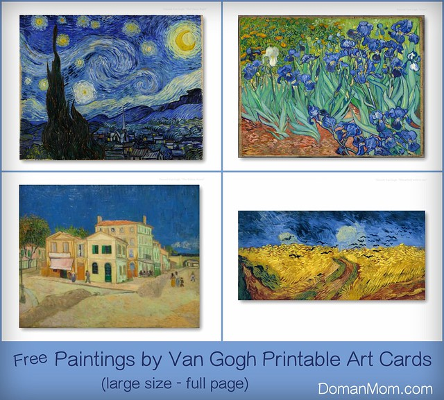Free Paintings by Van Gogh Printable Art Cards (large size - small also available)